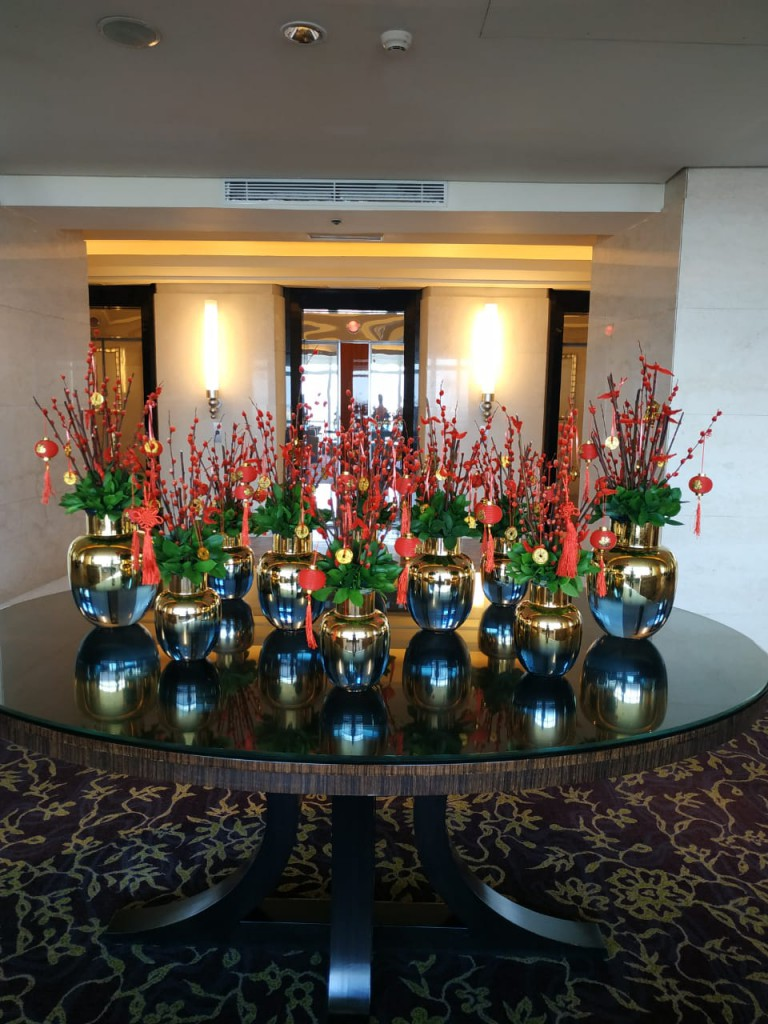 Center Piece - Chinese New Year decorations at 21st Fl. Ritz Carlton Pacific Place Hotel Lobby by Gria Florist