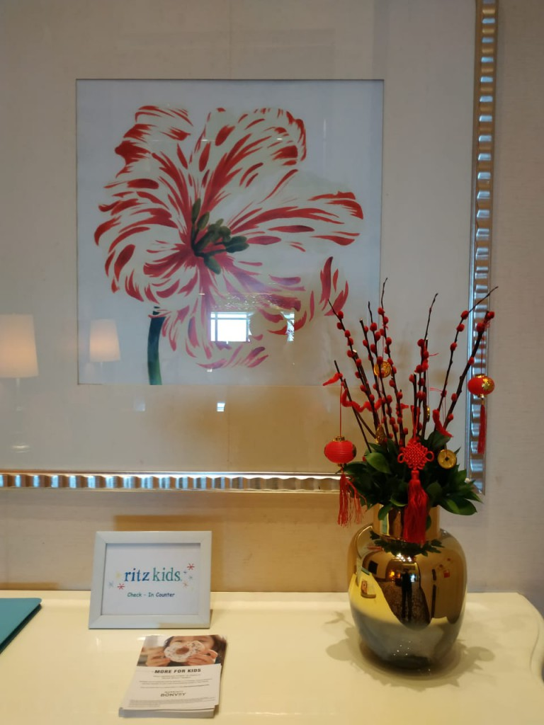 Guest Relations Table - Chinese New Year decorations at 21st Fl. Ritz Carlton Pacific Place Hotel Lobby by Gria Florist