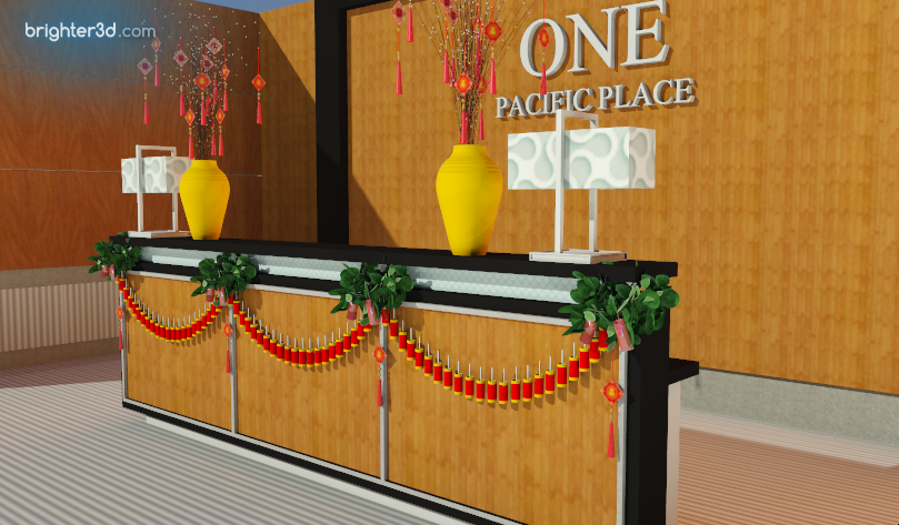 Receptionist Desk Three Quarter View Right: Chinese New Year 2020 Celebration at One Pacific Place Office Lobby - by Gria Florist.