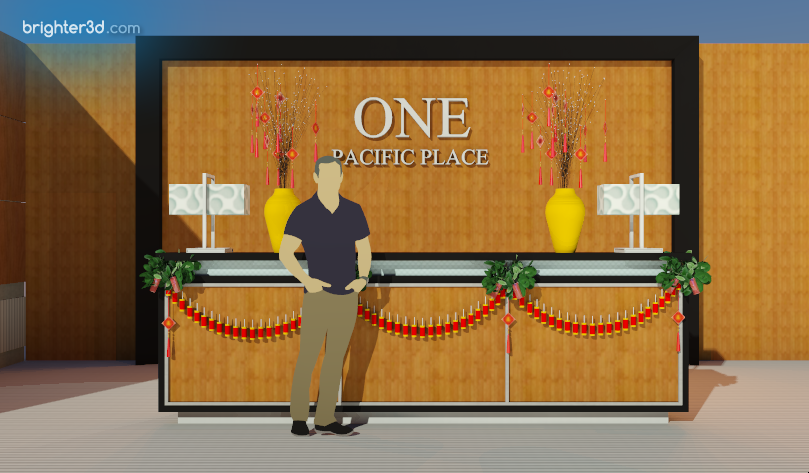 Receptionist Desk Front View: Chinese New Year 2020 Celebration at One Pacific Place Office Lobby - by Gria Florist.